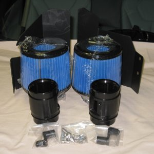 BMS intake kit comes with washable filters, heat shields, MAF tubes, mount brackets and harware.